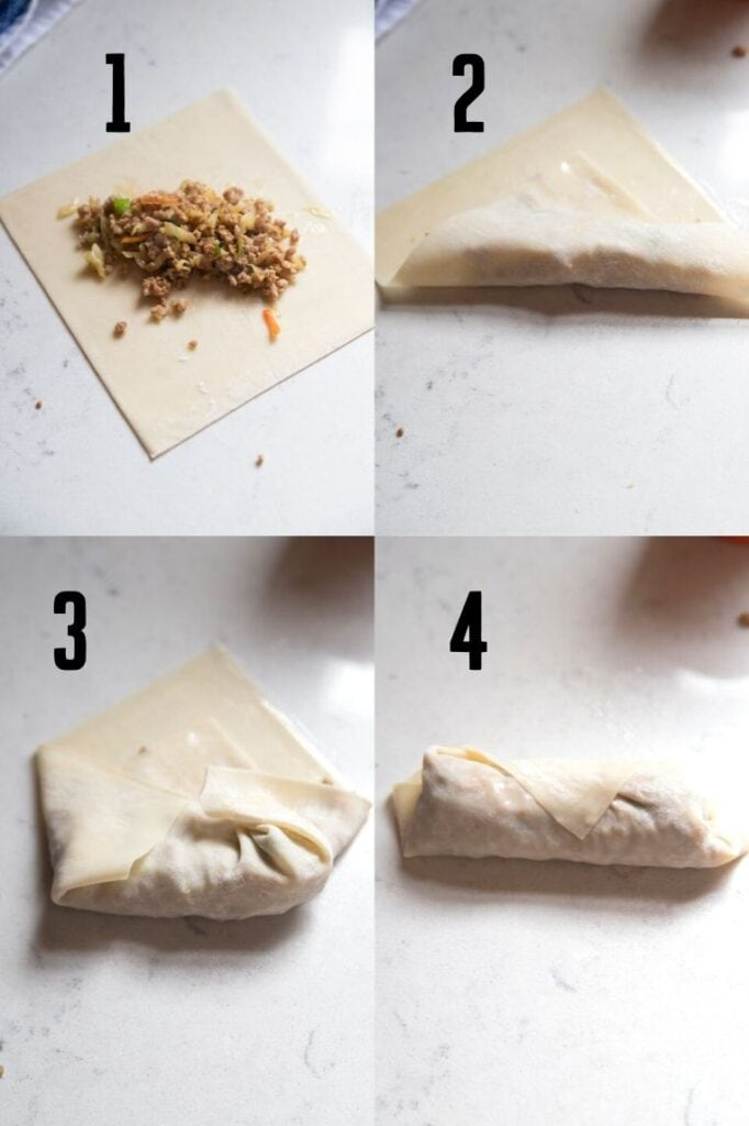 the four steps to roll an egg roll