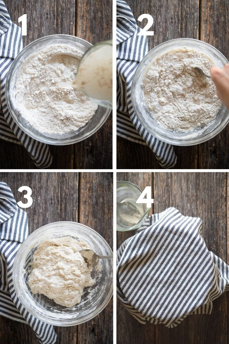 4 pictures of the first four steps for making Dutch oven bread. Mix yeast and water into flour and salt. Stir well in cover let rise 12 to 18 hours.