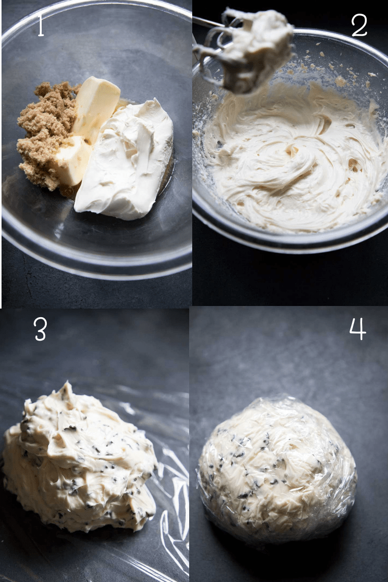 blend the butter, brown sugar and cream cheese. Add the chocolate chips to your dessert cheese ball and wrap well. Allow to chill overnight or up to a week before serving.