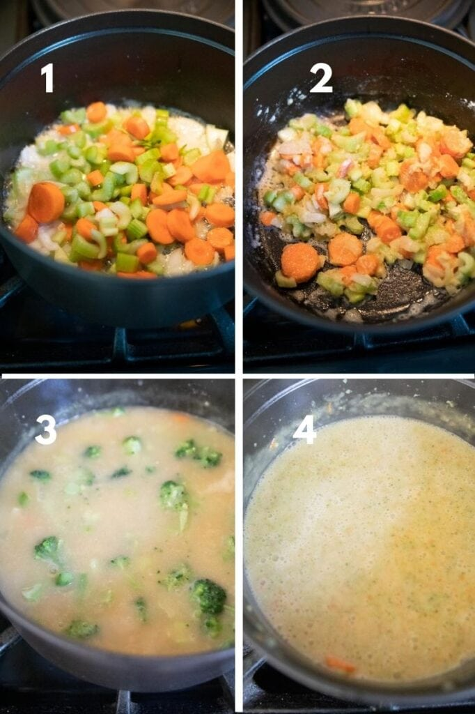 a step by step photo of sautéing vegetables, tossing with flour, simmering until tender and blending until smooth.