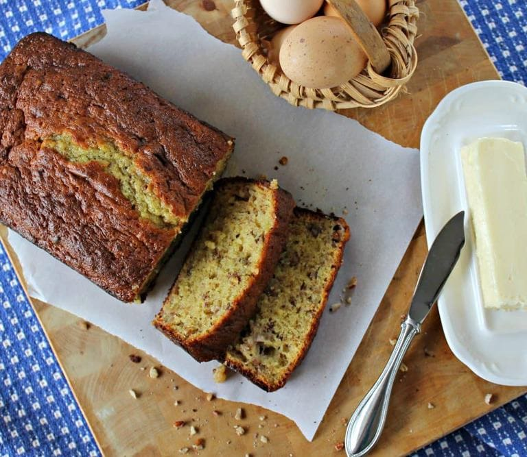 Easy banana nut bread recipe feast and farm bananabreadcropped forumfinder Images