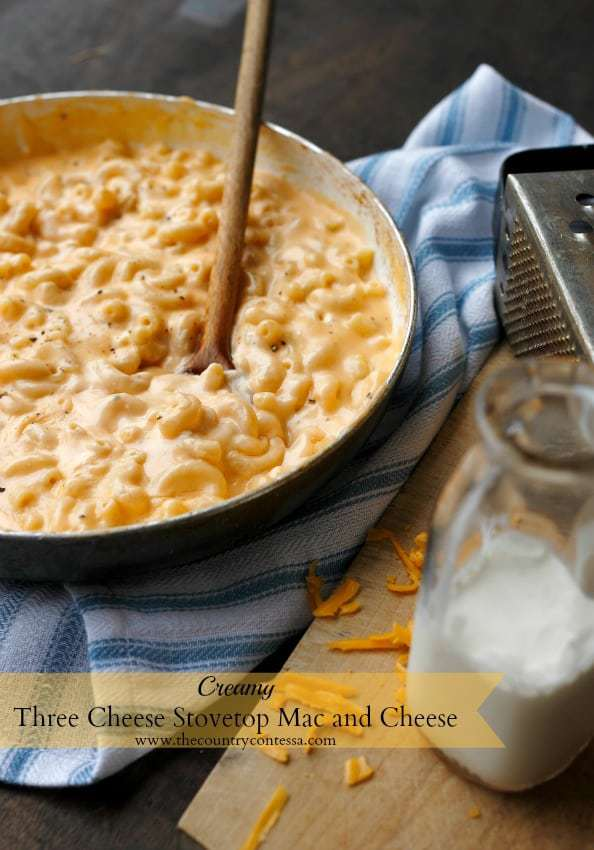 Three Cheese Stovetop Mac and Cheese | Feast and Farm