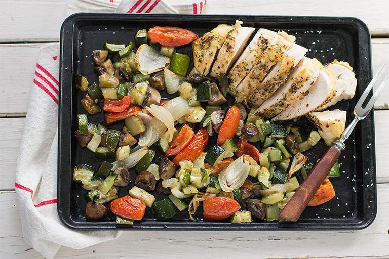 sheet pan supper roast chicken and vegetables