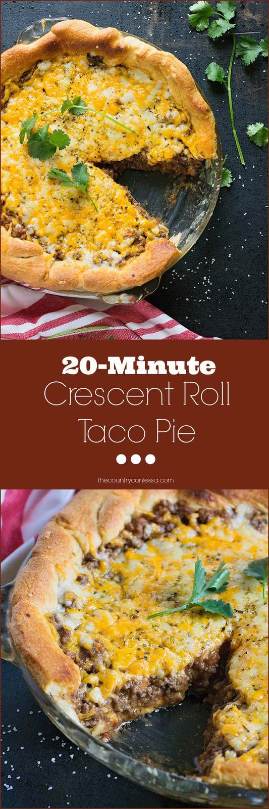 20 minute taco pie is your easy shortcut to a busy weeknight meal. Crescent rolls mean no fussing with a pie crust. Add a simple salad and dinner is ready to go.