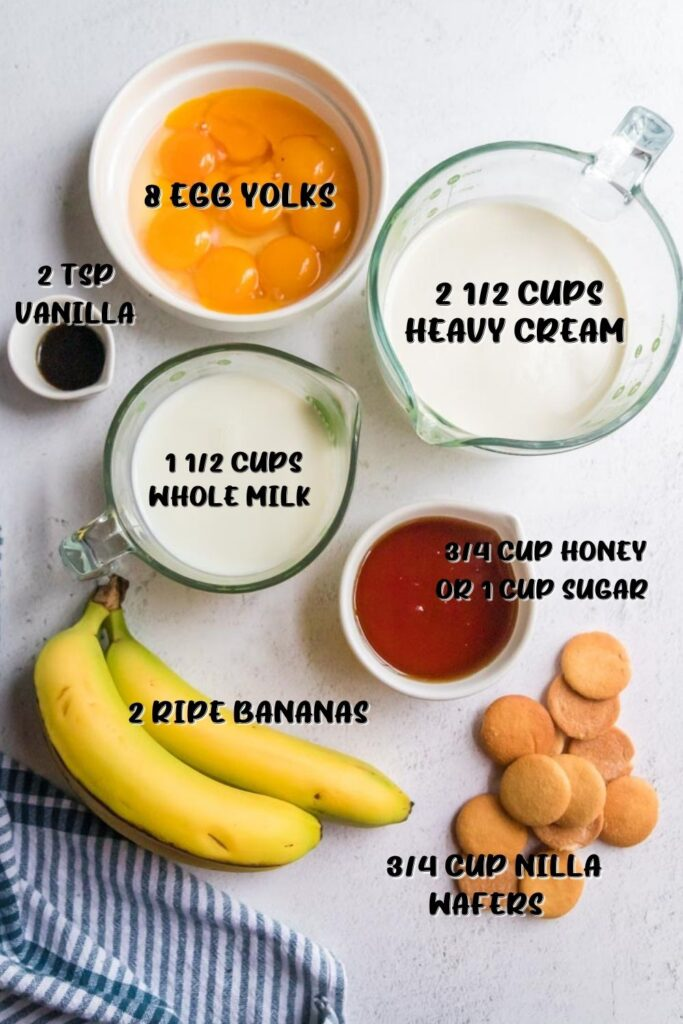 ingredients for banana pudding ice cream labeled