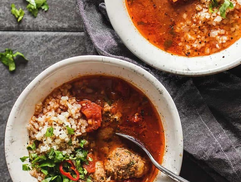 Cast iron dutch oven recipes can be light and healthy. This low carb Mexican meatball soup is the perfect example.