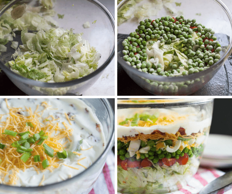 4 pictures of the steps to making the seven layer salad first picture is iceberg lettuce the second picture is peas over the iceberg lettuce the third picture is of shredded cheese as the next later and the last picture is of a completed seven layer salad in a clear bowl