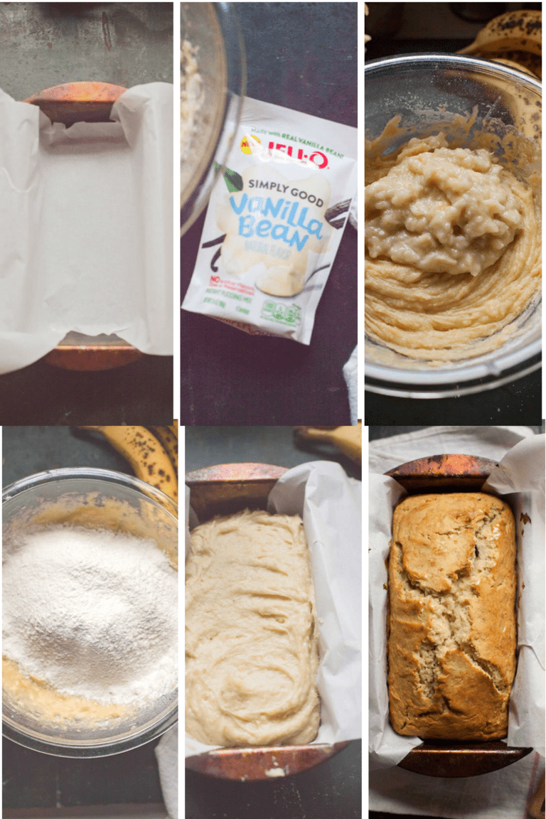to make easy gluten free banana bread, line your baking pan, use a color-free vanilla pudding mix, add mashed bananas, sift in dry ingredients, add to your loaf pan and bake.