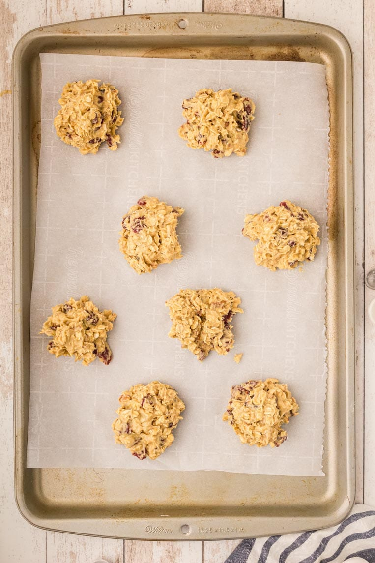 1/4 cup scoops of batter on a parchment paper lined cookie sheet before baking.