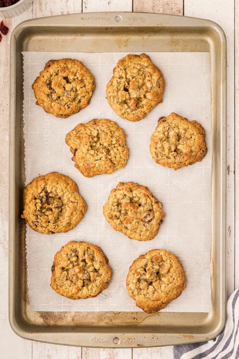A cookie sheet of baked breakfast cookies.