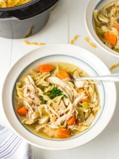 a bowl of chicken noodle soup with a spoon on a table and slow cooker in the background