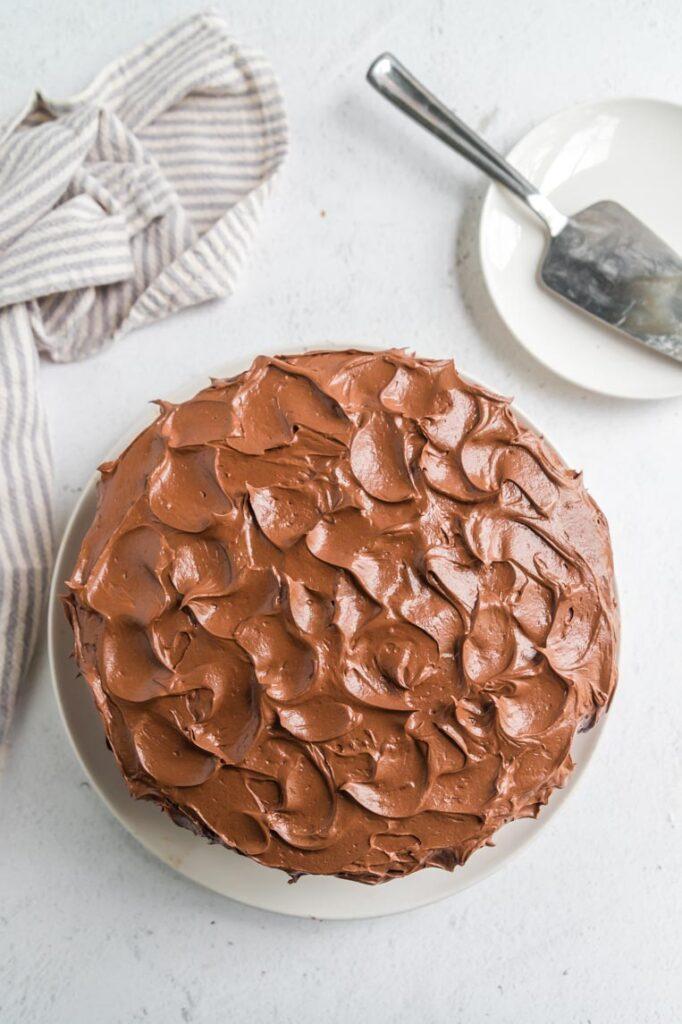 a chocolate cake on a table