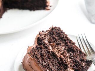 a slice of gluten free chocolate cake on a plate with a fork