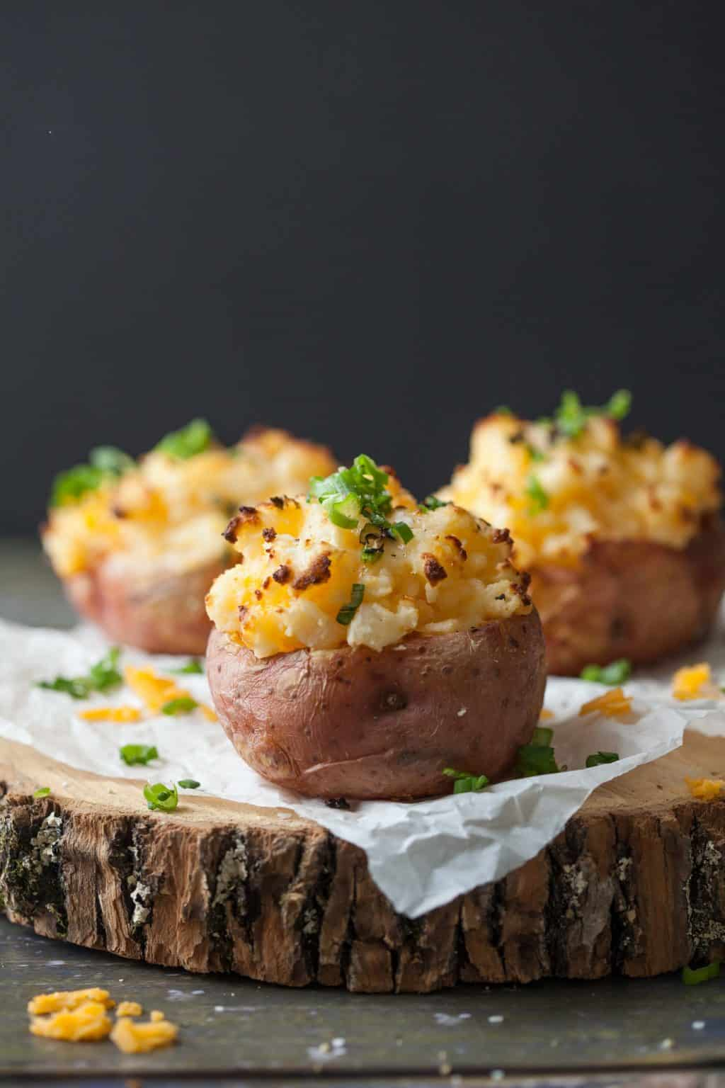 Piled high with cheesy filling, loaded overstuffed baked potatoes take a microwave shortcut and are ready in just 30 minutes.