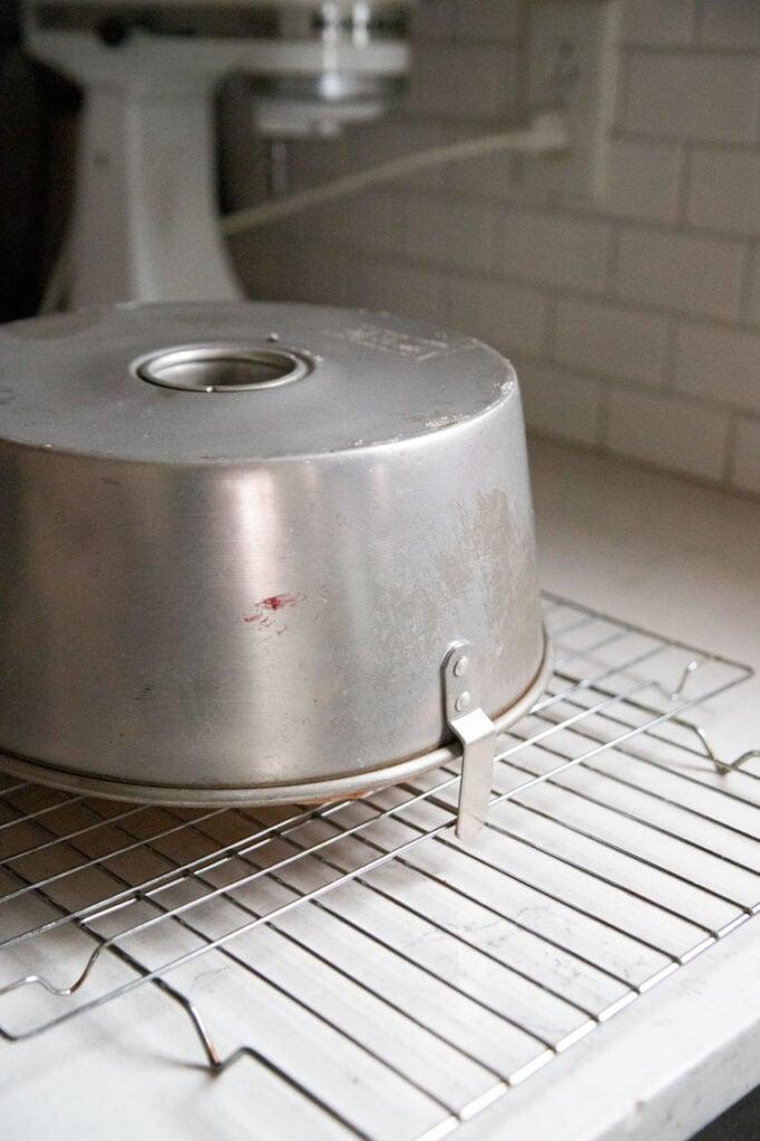an angel food cake pan turned upside down