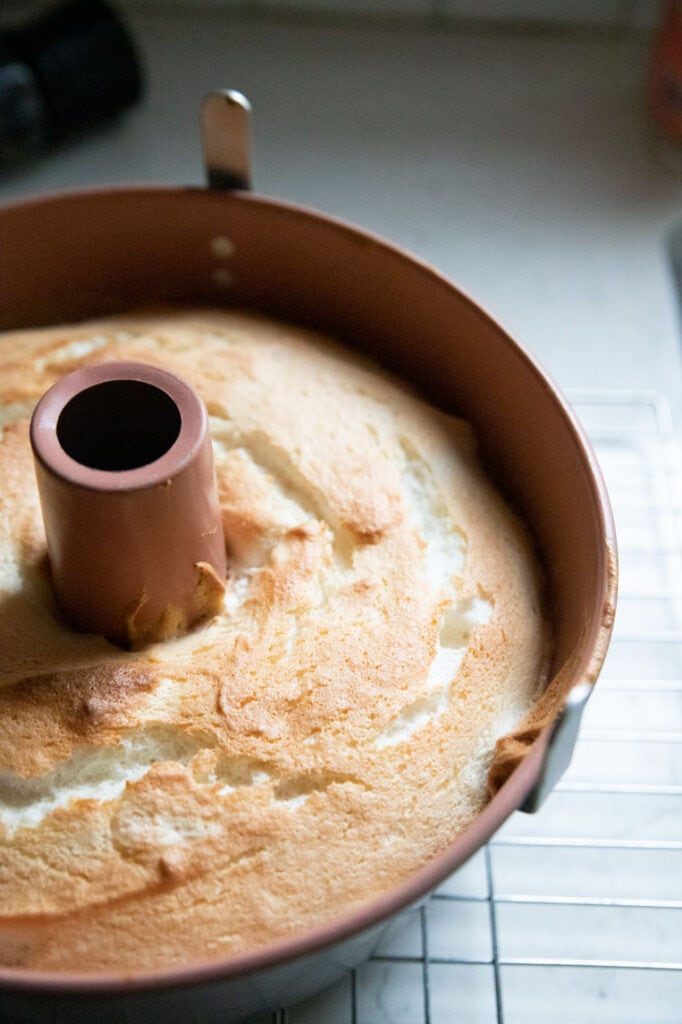 a baked angel food cake in a pan