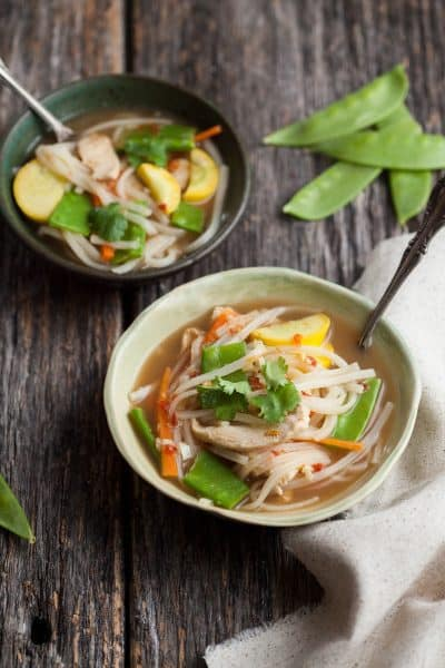 Change your routine with this asian chicken noodle soup's bright flavors.