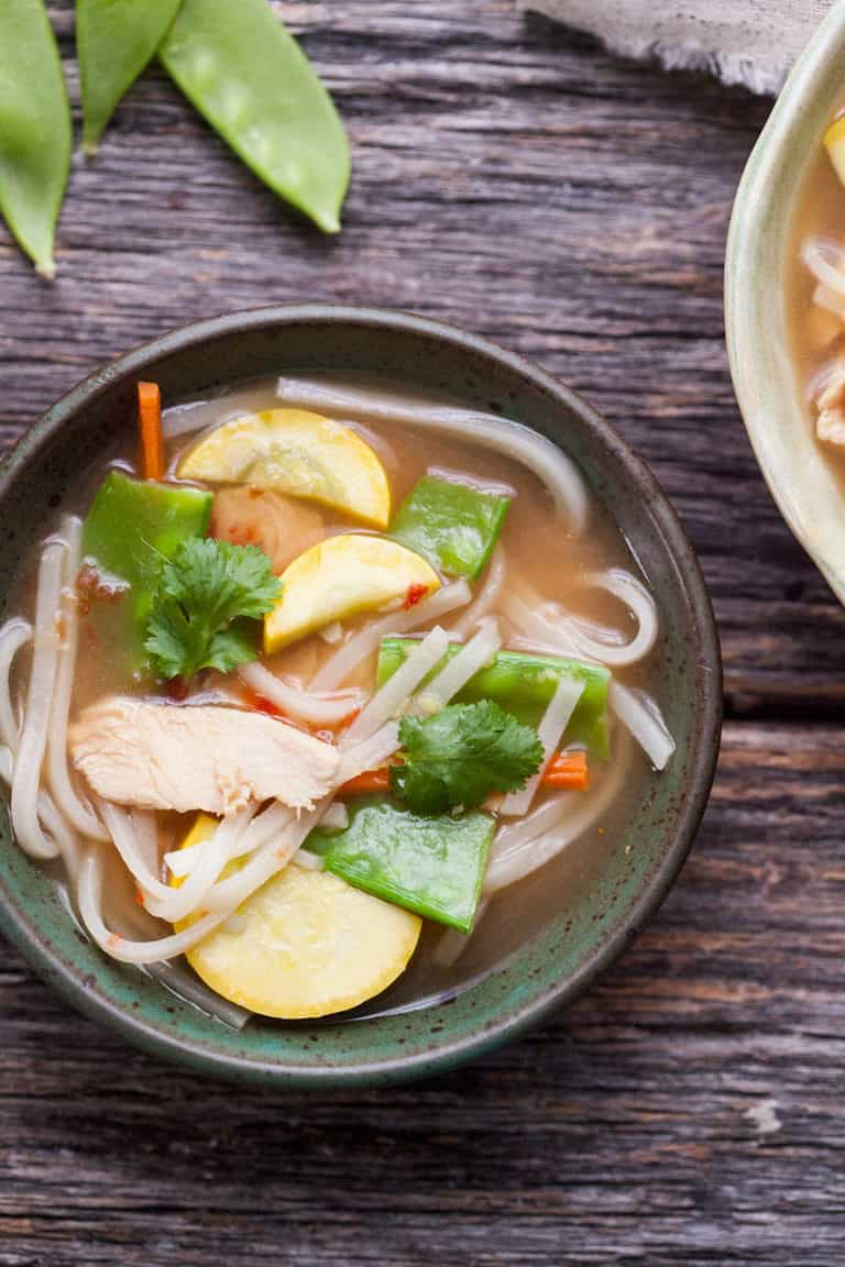 asian chicken noodle soup is fast and healthy!