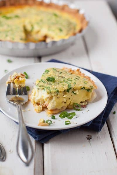 One of our favorite weeknight dinners. Bacon cheese quiche can be mixed in a big measuring cup and a store bought pie crust makes it a cinch to throw together. Reheats great too!