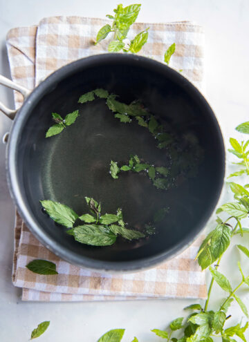 a pot with peppermint leaves steeping for tea
