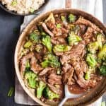 A skillet of 15 minute broccoli beef stir fry is an easy dinner.