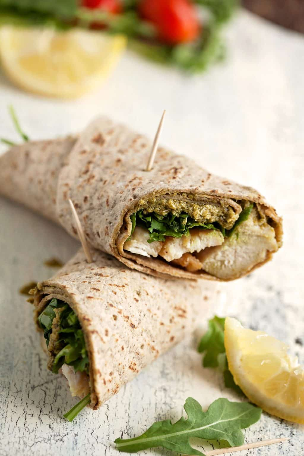 Light and healthy chicken pesto wraps are FAST and bring balance to those days when you had 3 donuts and a Mountain Dew.