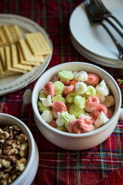 cream cheese mints in a bowl on a holiday table