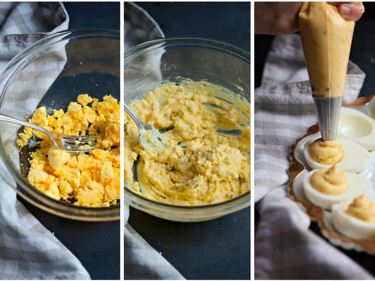 mash the egg yolks for your deviled eggs, mix in mayonnaise and pickle relish, use a pastry or plastic bag to squeeze the filling in to the eggs
