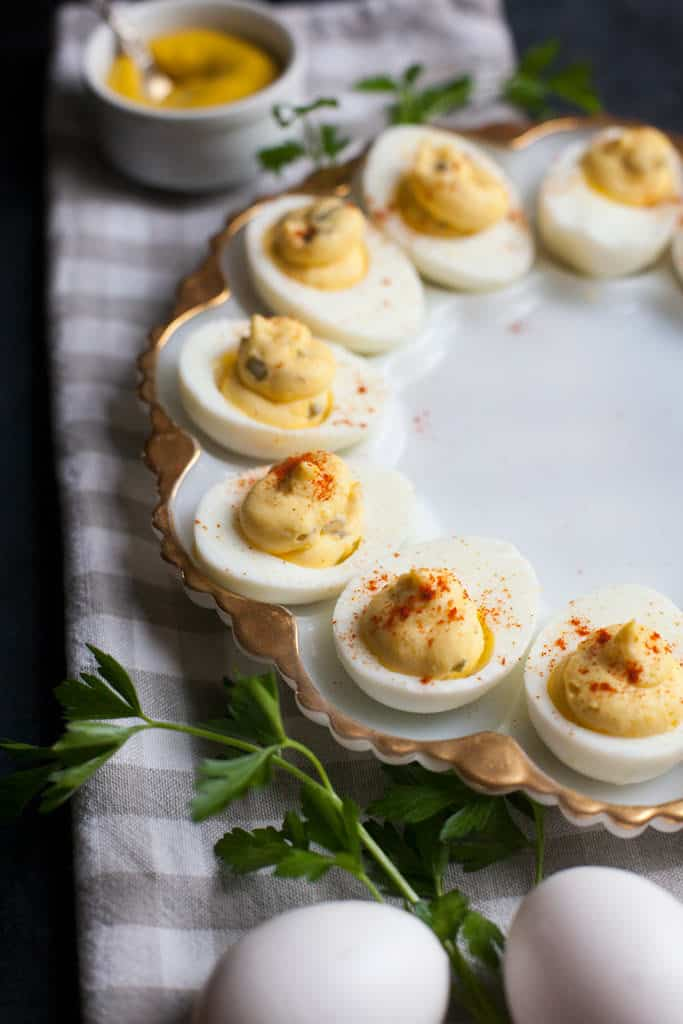These classic deviled eggs are the perfect pot luck side dish.