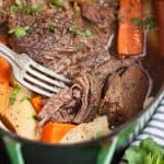 A dutch oven pot roast is the juiciest, most flavorful way to cook your next beef roast.