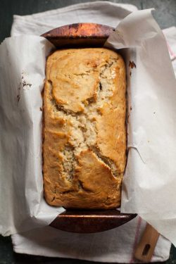 This easy gluten free banana bread is baked in a small loaf tin until golden on the outside and tender inside