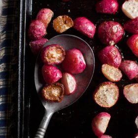 These easy roasted radishes are a nice change from cauliflower or potatoes and don't taste like you might expect!