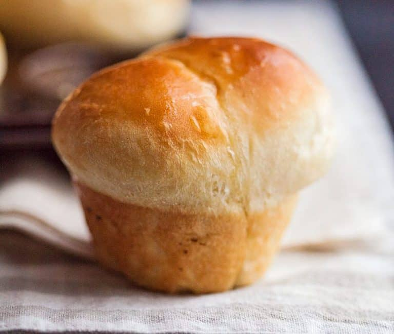 a close up of one dinner roll