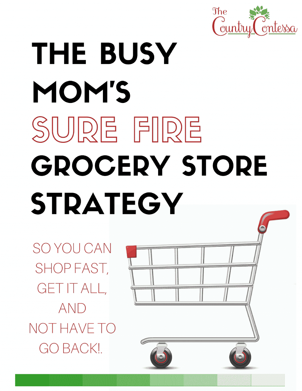 Do you grocery shop every day? Or worse, drag yourself around the store for an hour only to find you STILL don't have any plans for dinner? Solve all of your problems with my simple strategies for shopping faster and more efficiently so you can get in, get it all and not have to go back.