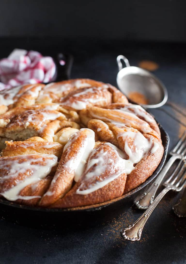 Pull out your cast iron and make an amazing twisted giant cinnamon roll you'll want to devour.
