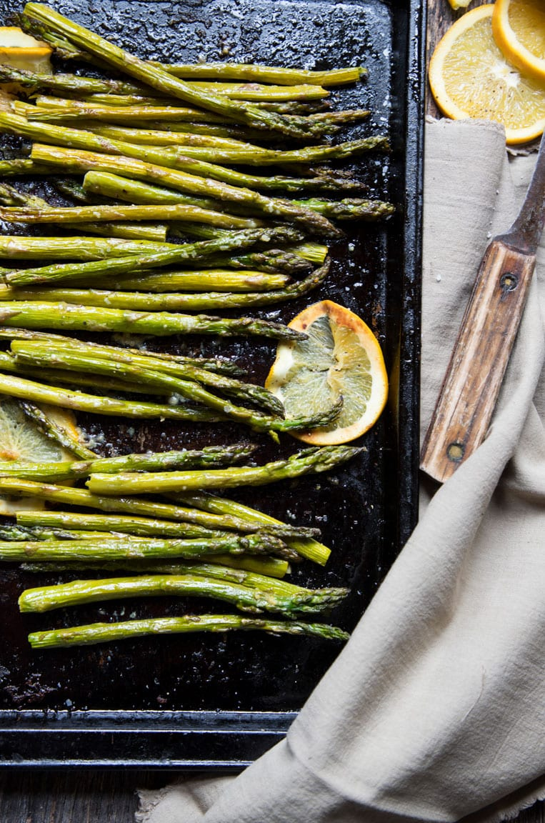 a sheet pan of roasted ginger and orange asparagus