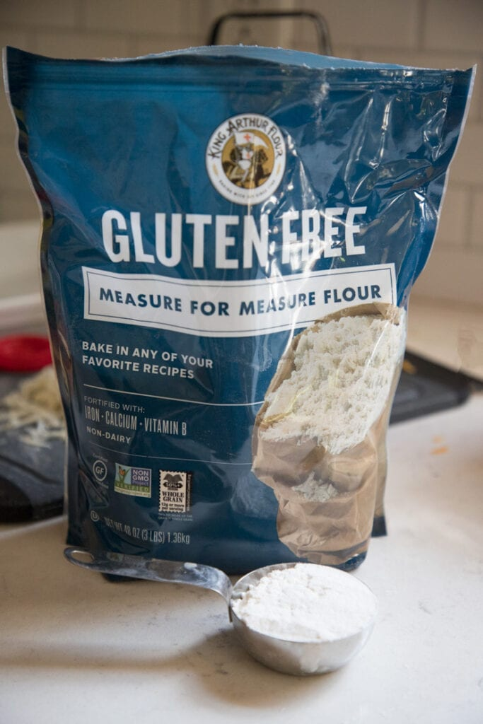 a bag of king arthur gluten free flour on the counter