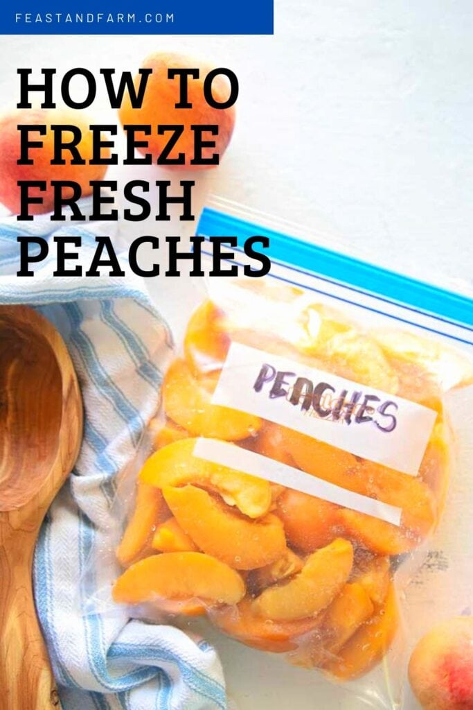 "bag of peaches to be frozen with words ""how to freeze fresh peaches"" on it"