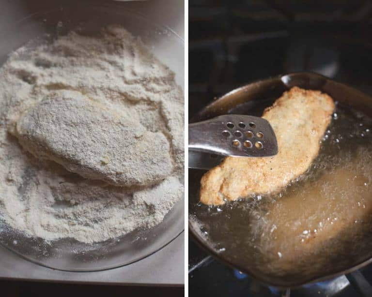 bread the catfish in cornmeal and flour then fry to golden brown