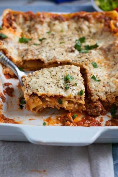 Every cook needs a basic lasagna with meat sauce recipe under their belt. This one's not too fancy and never fussy.
