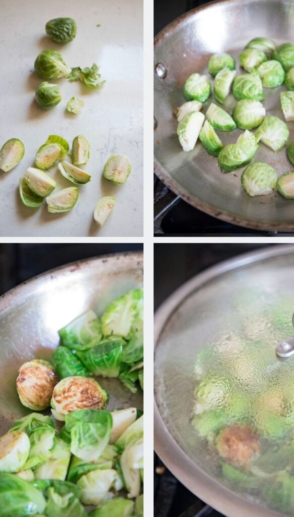to sauté brussel sprouts first cut them in half, cook cut side down, and steam to soften.