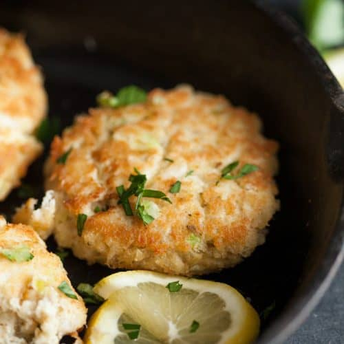 Easy Maryland crab cakes in a skillet