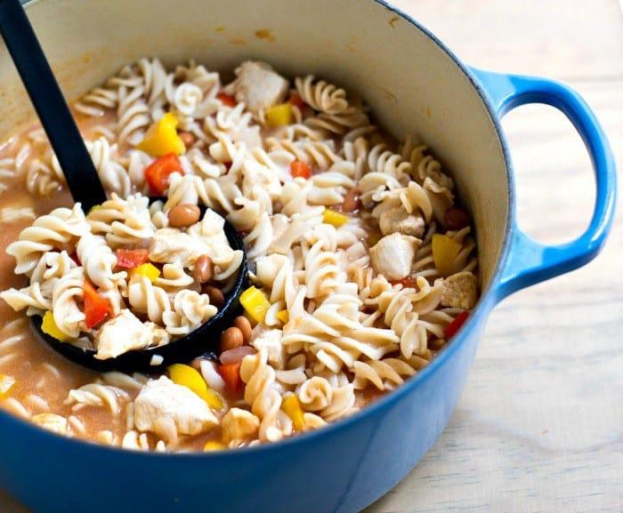 chicken taco pasta in a blue pot