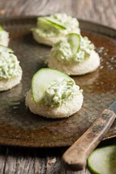Open face cucumber tea sandwiches