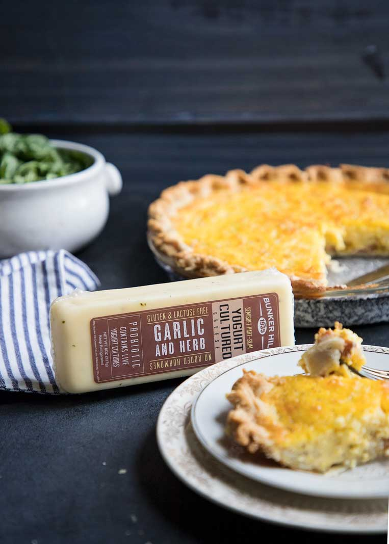 Make this classic quiche lorraine with bacon and my favorite naturally probiotic (and lactose free) Bunker Hill Cheese.