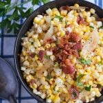 a bowl of oven roasted corn with bacon