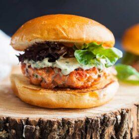 salmon burgers with lemon herb mayonnaise