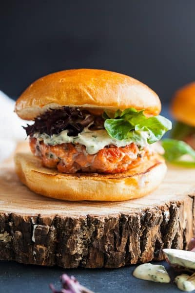 Alaska Salmon Burgers with Lemon Herb Mayo