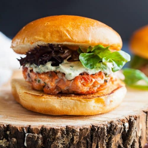 salmon burgers with lemon herb mayonnaise