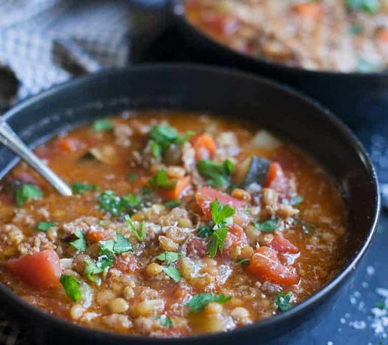 Light but still hearty, this sausage and lentil soup has a surprisingly bright flavor and is pretty much just chop and done!